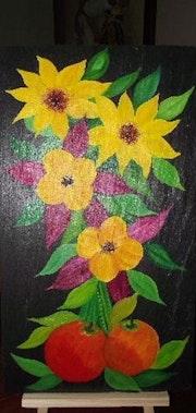 Fleurs sur ardoise 7.