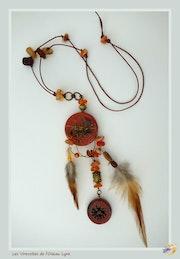 Sautoir, Pendentif ethnique. Céramique artisanale. Souffle d'automne.. Nicole Mourges