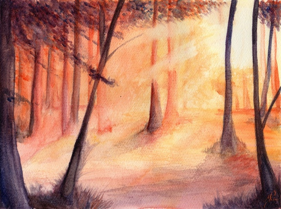 A Forest in the Morning Sunlight (Watercolours). Sonia Minous Yrya-Chan