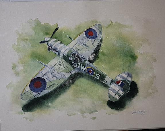Spitfire capitaine Duperier. Baldinotti Francois Forangeart F. Baldinotti Peintre De l'air