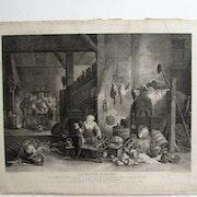Surugue Louis : La Fileuse flamande (1740), d'après D. Téniers (1655).. Historien d'art, Archéologue; Chercheur Free-L.