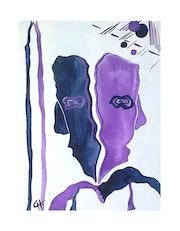 Toile symbolique et abstraite à l'aquarelle et l'acrylique «Face et profil».