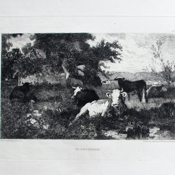 .Van marcke Émile : Un coin d'herbage.. Émile Van Marcke Historien d'art, Archéologue; Chercheur Free-L.
