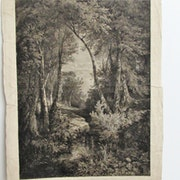 Calame Alexandre : «Solitude» (Ruisseau en forêt).. Historien d'art, Archéologue; Chercheur Free-L.