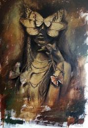 «Butterfly girl». Oil on canvas. 100*70 Cm.