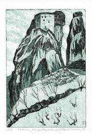 Meteora, Kloster Anafstafsias (1981), Radierung.. Hajo Horstmann