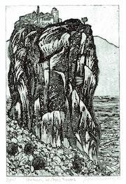 Meteora, Kloster Agios Triados (1981) Radierung. Hajo Horstmann