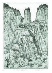 Meteora, Kloster im Felsen (1081), Radierung. Hajo Horstmann