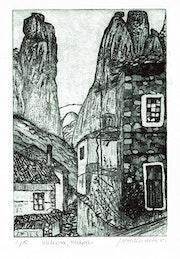Meteora, Kastraki 2, gr (1981) Radierung. Hajo Horstmann