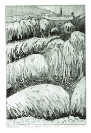 Meteora, Felsenlandschaft, gr (1981) Radierung. Hajo Horstmann
