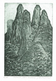 Meteora, Felsen, gr (1981), Radierung. Hajo Horstmann