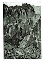 Meteora, Landschaft, gr (1981), Radierung. Hajo Horstmann