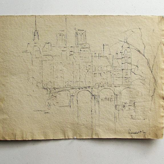 Ney Lancelot : Paris imaginaire (? ) : Paysage urbain d'hiver. Lancelot Ney, 1900-1965. Historien d'art, Archéologue; Chercheur Free-L.