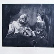 Waltner Charles-Albert : La Bénédiction de l'ancêtre, d'après. Rembrandt.. Historien d'art, Archéologue; Chercheur Free-L.