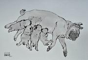 Pug maternity, sanguine. Barake Sculptor