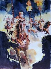 Peinture de la Fantasia Tburida, Maroc - Aquarelle.. L'aquarelle En Voyage.