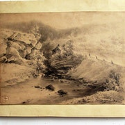 Dupré Victor : Paysage de basse montagne, rochers, torrent, maison. 1849.. Historien d'art, Archéologue; Chercheur Free-L.