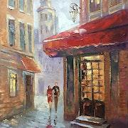 Painting *Romantic date*Oil on canvas 50x80 cm. Kseniya Kovalenko