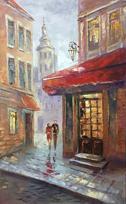 Painting *Romantic date*Oil on canvas 50x80 cm.