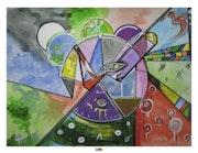 Aquarelle symbolique et abstraite «Vérité et mensonge» - Transparence et Opacité.