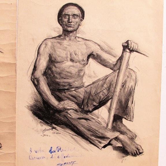 Jonas Lucien H. : Mineur d'Anzin en 1935. Lucien Hector Jonas (1880-1947). Historien d'art, Archéologue; Chercheur Free-L.