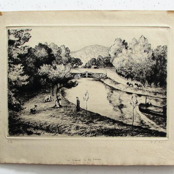 Colin Paul-Émile : «Le canal de la Sarre».. Paul-Émile Colin, (1877-1949). Historien d'art, Archéologue; Chercheur Free-Lance (Er)