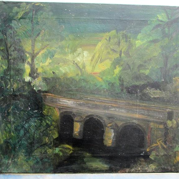 Dufy Raoul (1877- 1953) : projet de décor de théâtre : pont dans la nature.. Raoul Dufy ( (1877-1953). Historien d'art, Archéologue; Chercheur Free-Lance (Er)