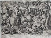 Adrian Collaert d'après Jan V d Straet/Stradanus : Chasse à l'ours. Fin XVIe.. Historien d'art, Archéologue; Chercheur Free-L.