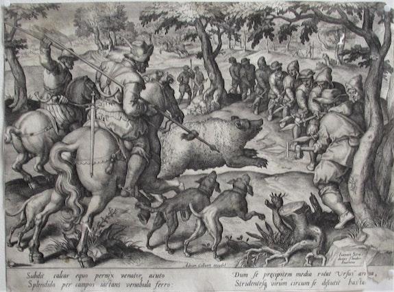 Adrian Collaert d'après Jan V d Straet/Stradanus : Chasse à l'ours. Fin XVIe.. Adriaen Collaert (1560-1618) d'après Jan Van Den Straet / Stradanus (1523-1605). Historien d'art, Archéologue; Chercheur Free-Lance (Er)