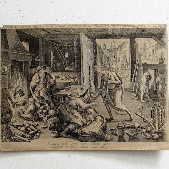 Ioann Sadeler d'après Ioann Stradanus : La Mort libératrice des pauvres. XVIe.. Sadeler Johann (Bruxelles 1550 - Venise, Vers 1600). Historien d'art, Archéologue; Chercheur Free-Lance (Er)