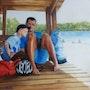 Yannick et Léo à la plage de Bombannes. Chantal Charroux