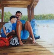 Yannick et Léo à la plage de Bombannes.