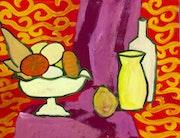 «Fruits» 50x60 nature morte art abstrait sur canson. Xenart