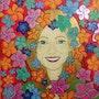 Feminine portrait with flowers. Paula Fridman