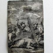 Sadeler Johann (es) d'après Christophe. Swartz : Portement de Croix. XVIe.. Historien d'art, Archéologue; Chercheur Free-L.