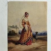 Dévéria Achile ou Eugène : Promenade de la châtelaine.. Historien d'art, Archéologue; Chercheur Free-L.