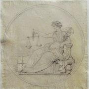Dévéria Achile : projet de médaille : La Justice ou La Médecine ?. Historien d'art, Archéologue; Chercheur Free-L.