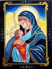 Icône de la Vierge Marie et l'enfant.