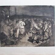 Steinlen Alexandre : Les malheurs de la guerre. Départ en permission (? ).. Historien d'art, Archéologue; Chercheur Free-L.
