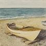 Barque sur la plage d'Etretat. Art Demo