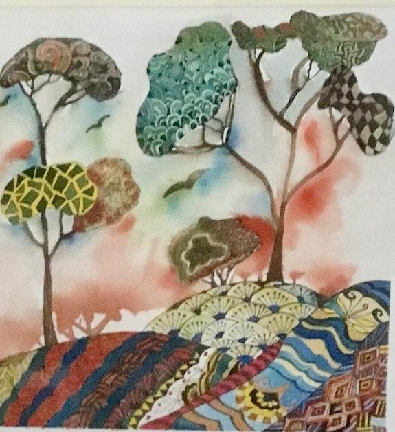 Aquarelle et brou de noix original signé -1 exemplaire.  Nila