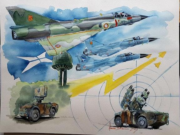 Mirage iiie mirages 2000c et system crotale. François Baldinotti Forangeart F. Baldinotti Peintre De l'air