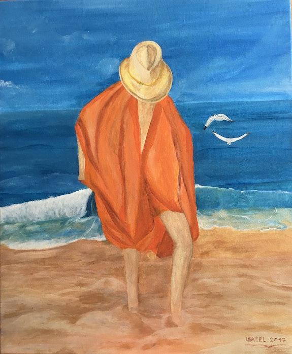 Paseando en la playa. Isabel Mendez Isamenara