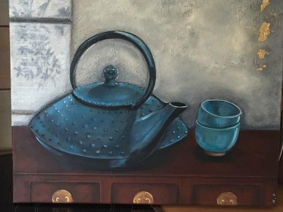 La théière bleue. Original Nicole Armengol