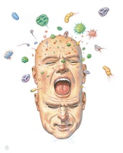 Sneezing Head. Illustration & Illusion