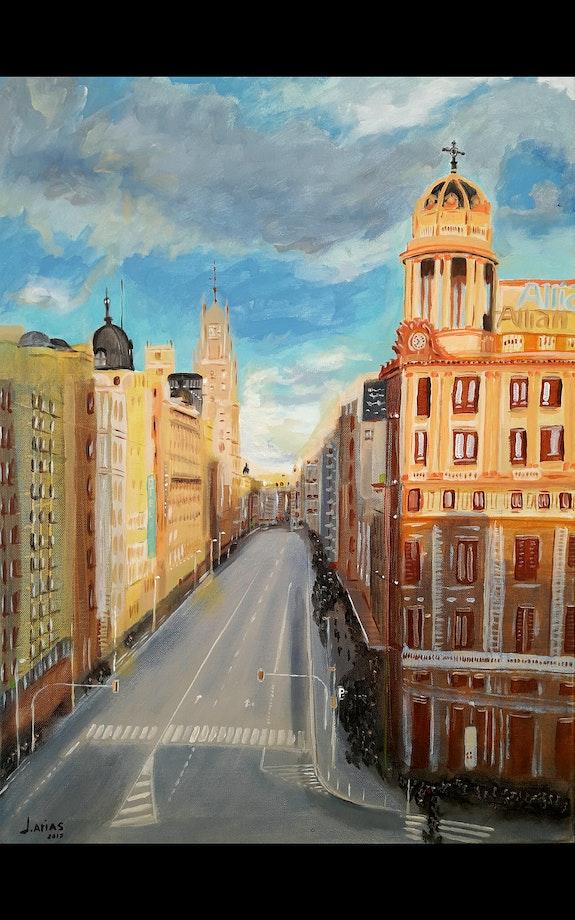 Atardecer en Gran Via, Madrid. Sunset on Gran Via street, Madrid.. Jose Antonio Arias Garcia Jose Antonio Arias