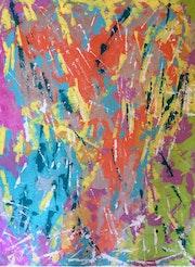 «Waterfalls» art abstrait moderne contemporain acrylique et huile toile 60x80cm.