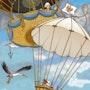 The dog at the parachute. Illustration & Illusion