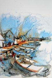Les bateaux aux quais. Jean-Pierre Lemoine