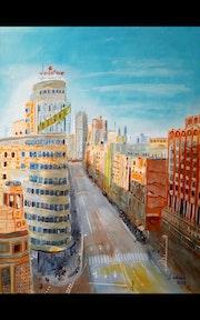 Edificio Capitol, atardecer en calle Gran Via, Madrid.